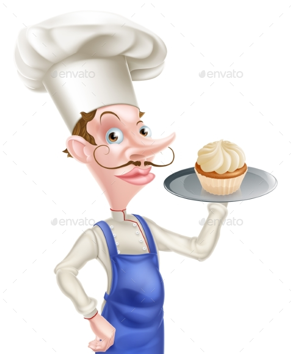 Cartoon Cupcake Baker - Food Objects