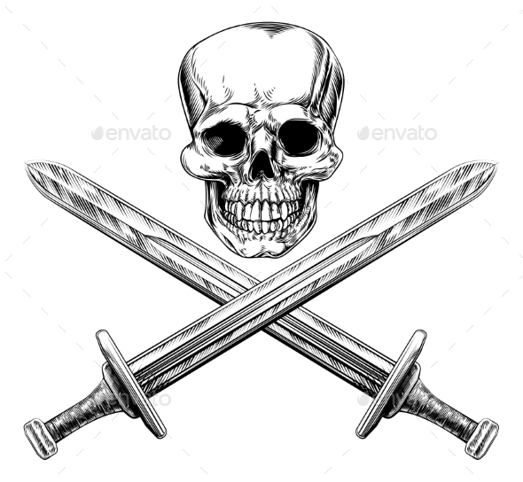 Skull and Swords Pirate Sign - Miscellaneous Vectors