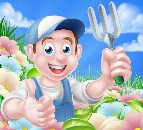 Gardener in Flower Garden - People Characters