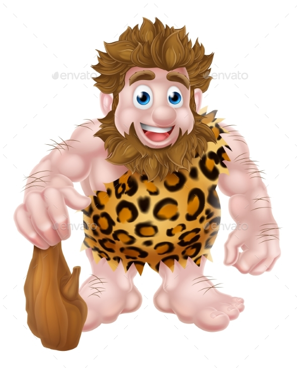 Cartoon Caveman with Club - People Characters