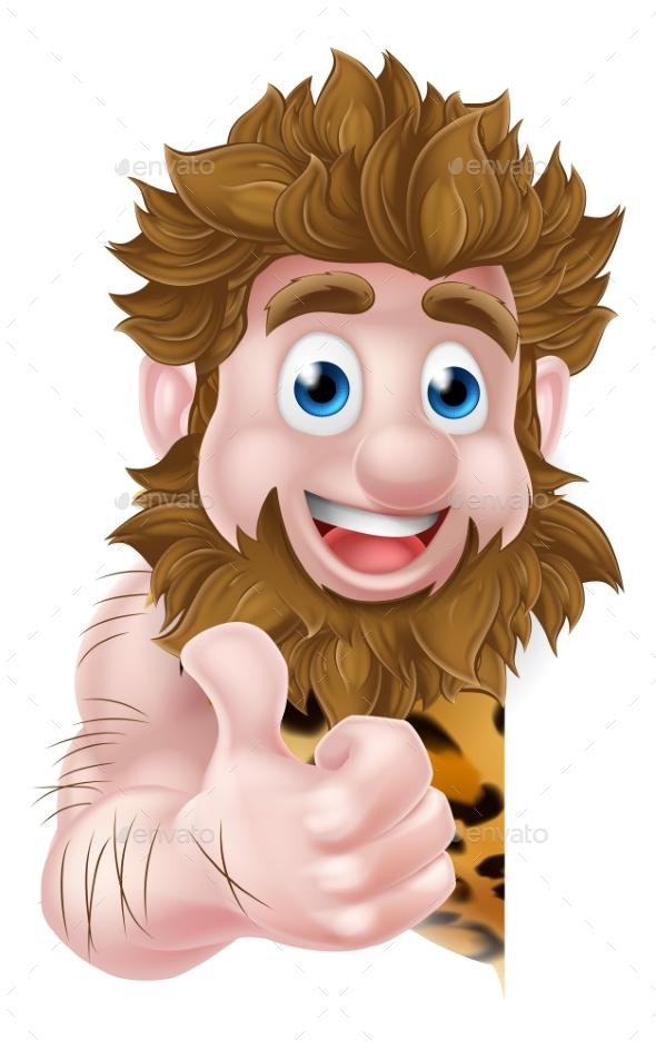 Cartoon Caveman Sign - People Characters
