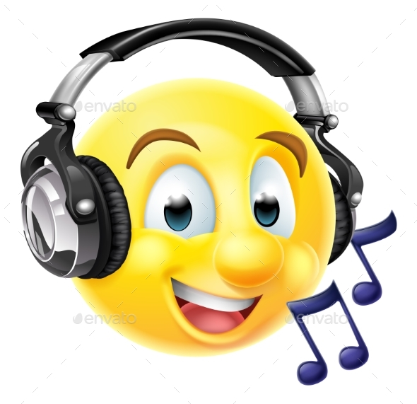 Music Emoji Emoticon Wearing Headphones - Miscellaneous Characters