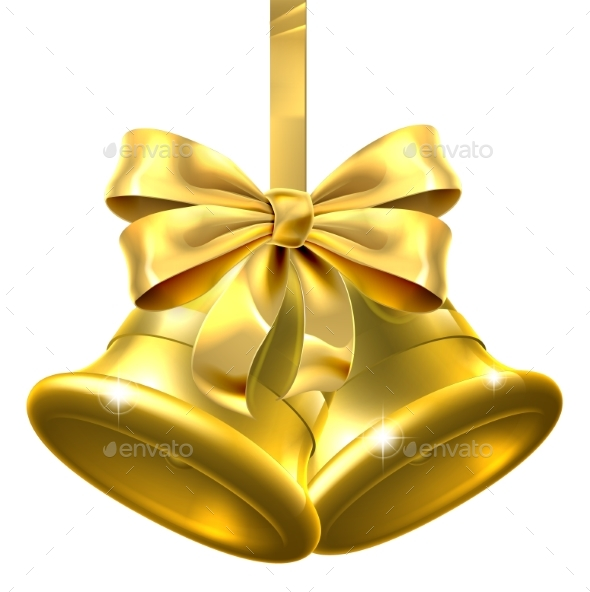 Gold Christmas Bells - Miscellaneous Vectors