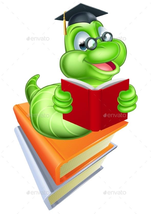 Bookworm Education Concept - Miscellaneous Vectors