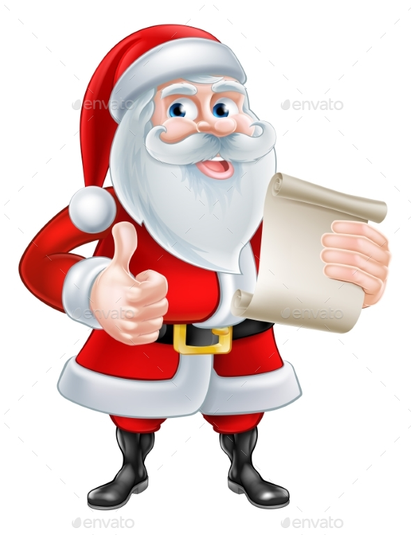 Cartoon Santa and Scroll - Christmas Seasons/Holidays