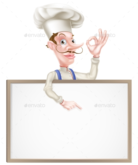 Chef with Perfect Sign Pointing - Miscellaneous Vectors