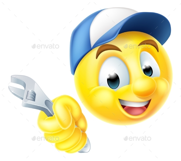 Plumber Mechanic Emoticon Emoji with Spanner - Miscellaneous Characters