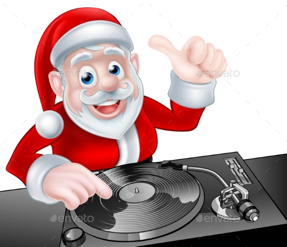DJ Santa Cartoon - Christmas Seasons/Holidays