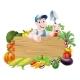Gardener and Vegetables Sign