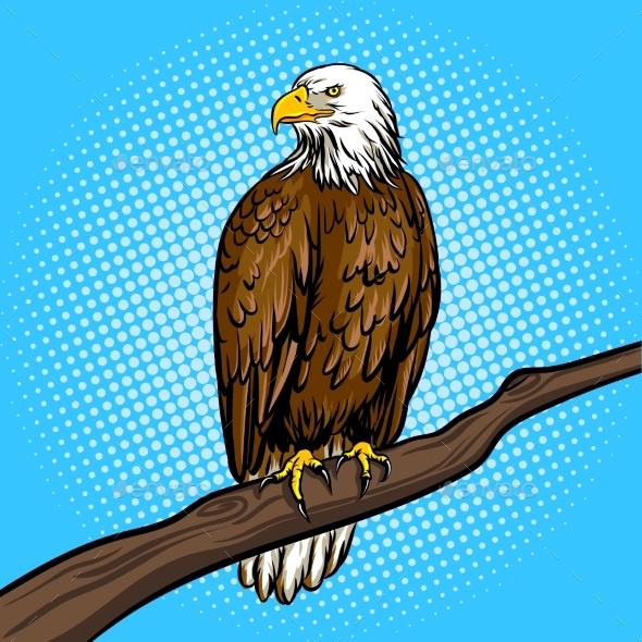 Eagle Bird Pop Art Style Vector Illustration - Animals Characters