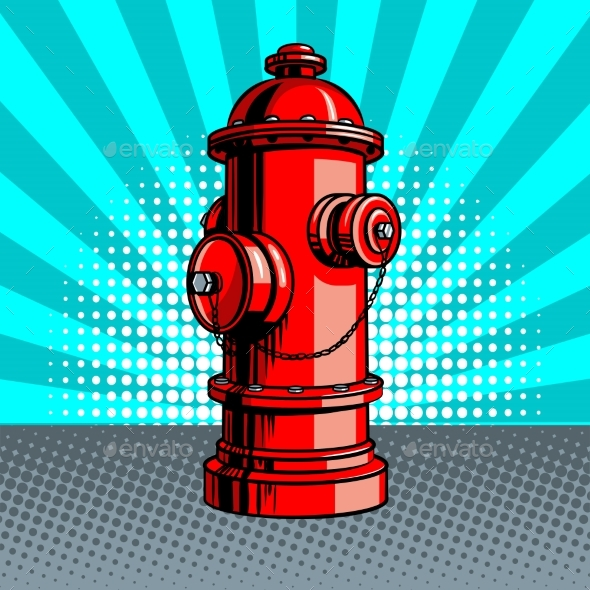 Fire Hydrant Pop Art Style Vector Illustration - Man-made Objects Objects