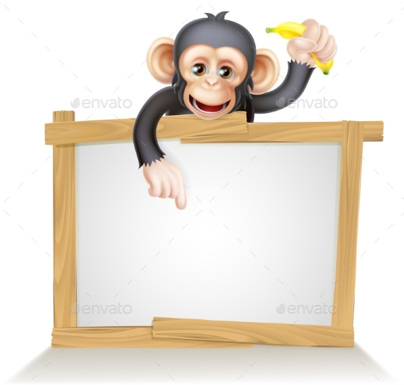 Cartoon Chimp Monnkey Sign - Animals Characters