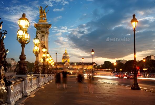 Bridge Alexandre III at sunset - Stock Photo - Images