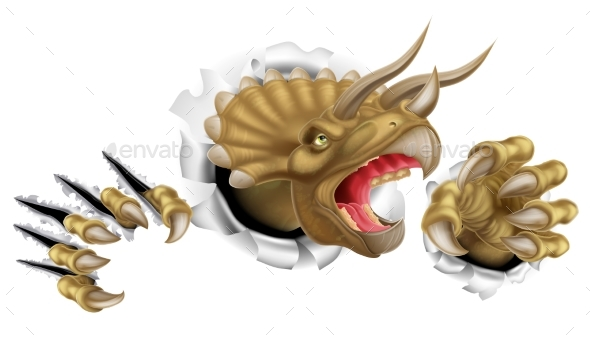 Triceratops Dinosaur Claws Ripping - Animals Characters