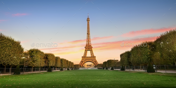 Eiffel Tower and alley - Stock Photo - Images