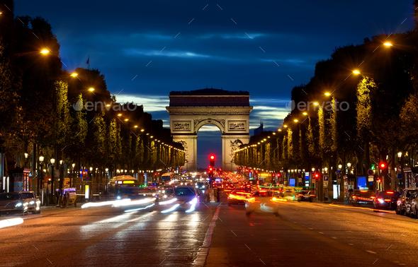Arc de Triompthe in evening - Stock Photo - Images