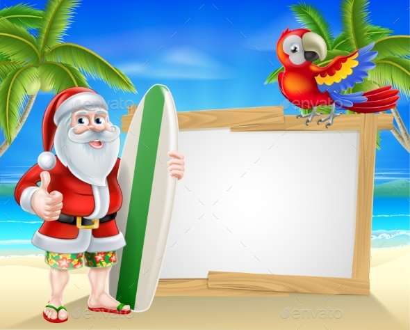 Santa Tropical Beach Sign - Seasons/Holidays Conceptual
