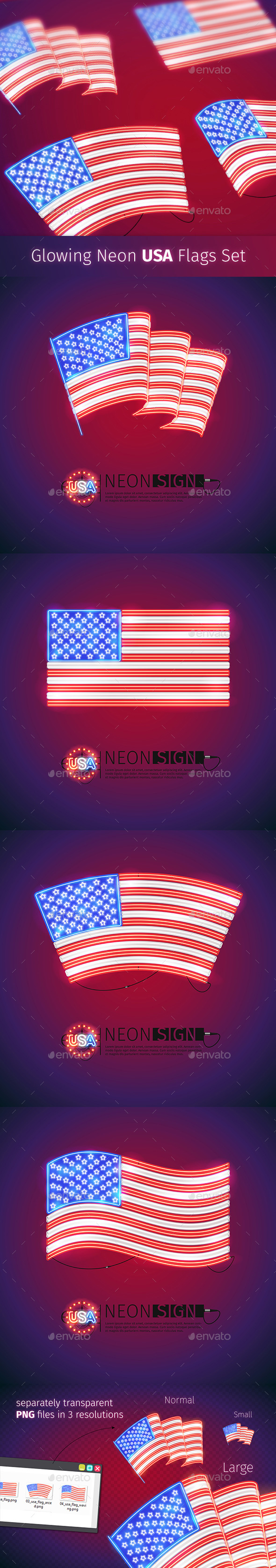 Glowing Neon USA Flags Set - Objects Vectors
