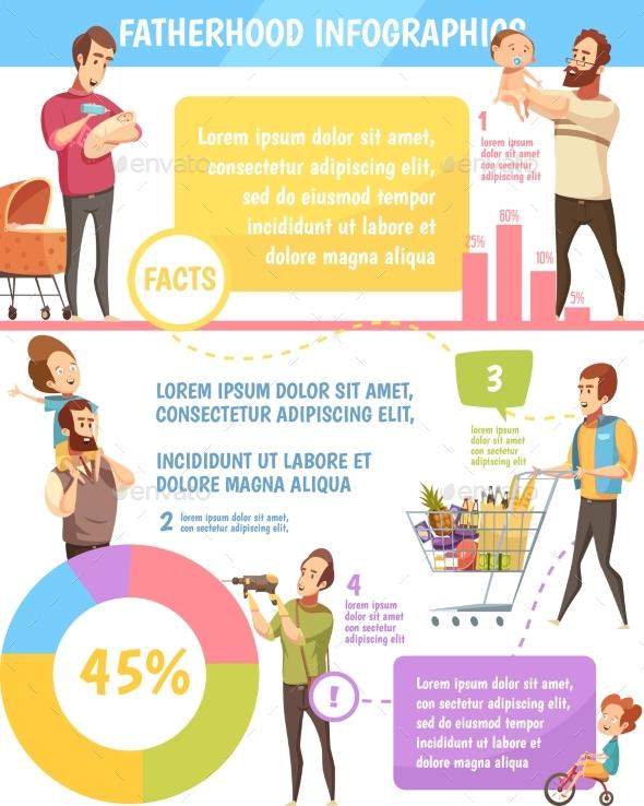 Fatherhood Retro Cartoon Infographic Poster - People Characters