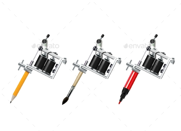 Tattoo Machine Drawing Set - Objects Vectors