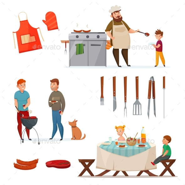 Barbecue Party Icon Set - Food Objects