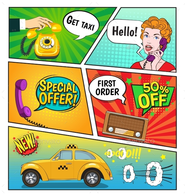 Advertising Of Taxi Comic Book Page - Man-made Objects Objects