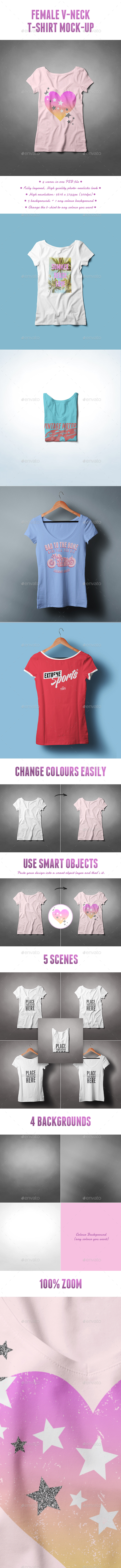 Female V-Neck T-shirt Mock-up - T-shirts Apparel