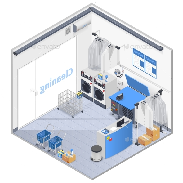 Laundry Interior Isometric Composition - Services Commercial / Shopping