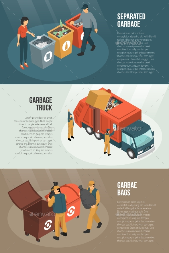 Isometric Garbage Recycling Horizontal Banner Set - Objects Vectors