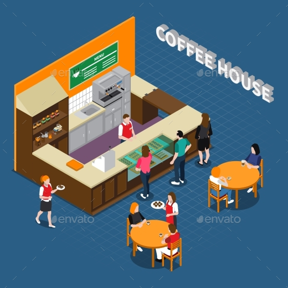 Coffee House Isometric Composition - Business Conceptual