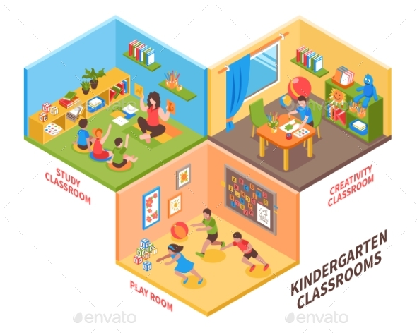 Kindergarten Indoor Isometric Illustration - Buildings Objects