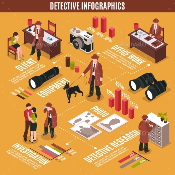 Criminal Investigator Infographic Concept - People Characters