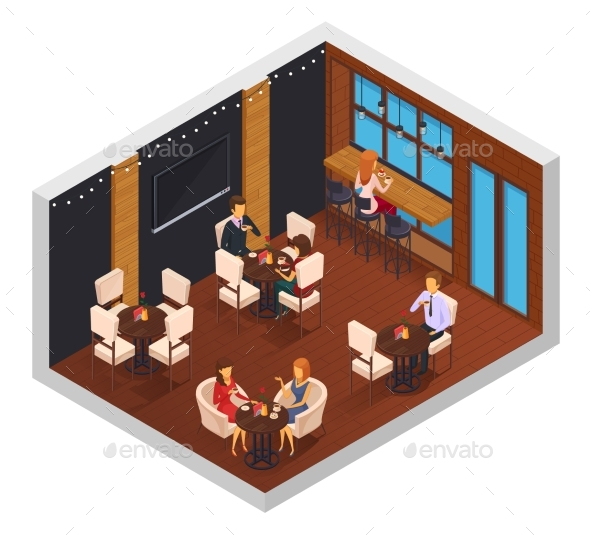 Cafe Restaurant Isometric Interior - Buildings Objects