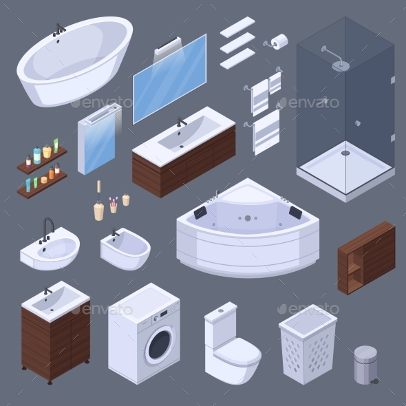 Bathroom Elements Isometric Collection - Man-made Objects Objects