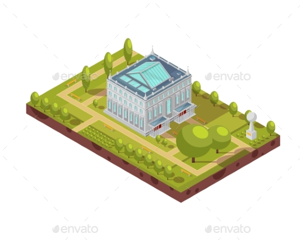 University Building with Park Isometric Layout - Buildings Objects
