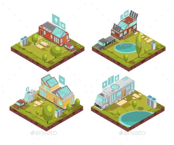 Mobile House Isometric Compositions - Miscellaneous Vectors