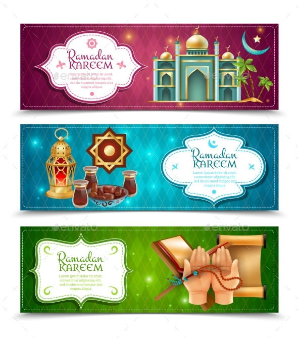Ramadan Kareem 3 Horizontal Banners Set - Religion Conceptual