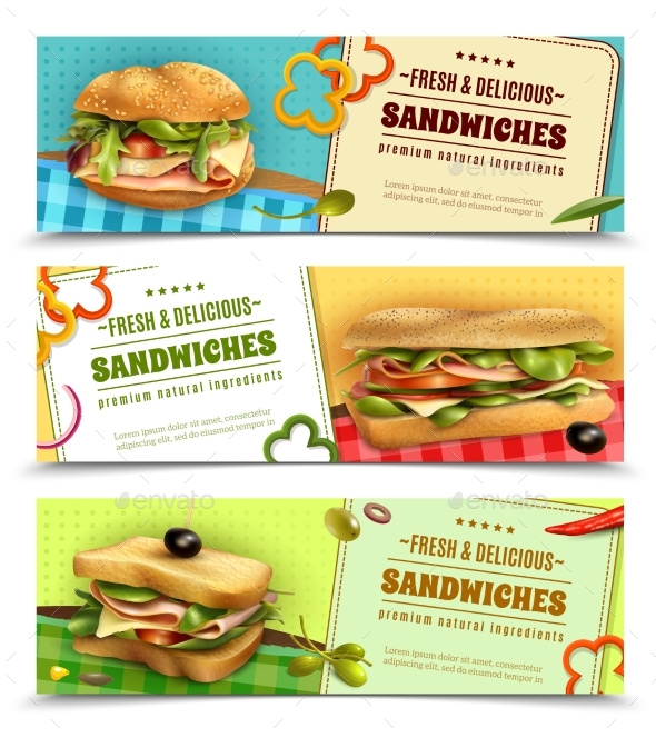 Healthy Fresh Sandwiches Advertisement Banners Set - Food Objects