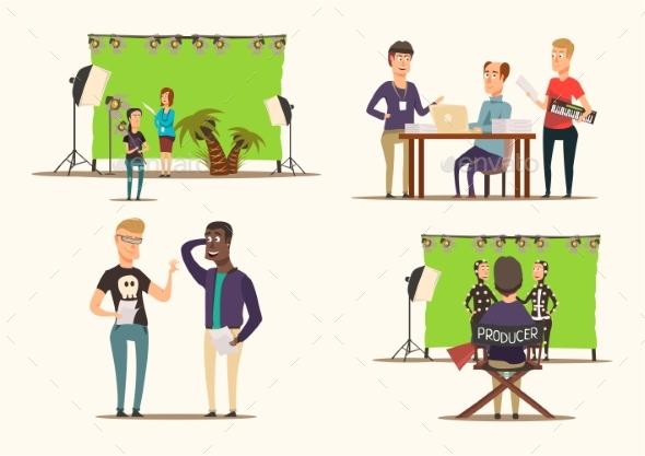 Movie Making 2X2 Concept - Miscellaneous Vectors