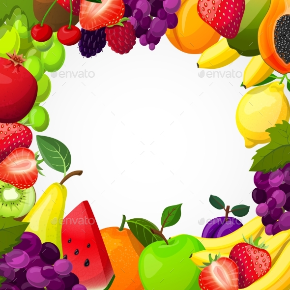 Fruits Frame Template - Food Objects