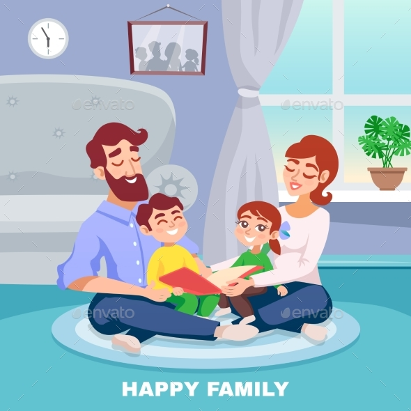Happy Family Cartoon Poster - People Characters