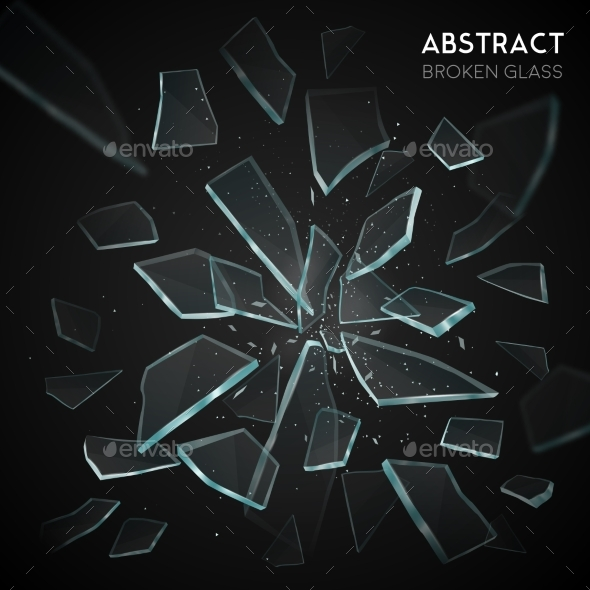 Broken Glass Flying Fragments Dark Background - Abstract Conceptual