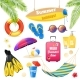 Beach Vacation Realistic Items Set