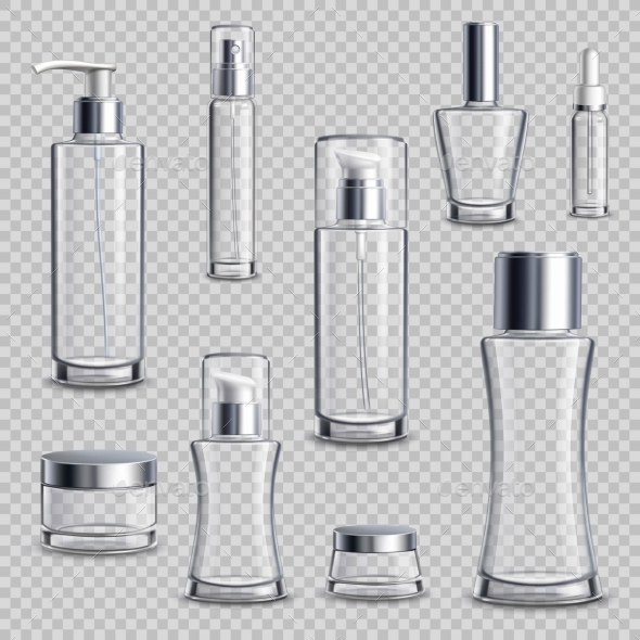 Cosmetics Package Realistic Transparent Set - Man-made Objects Objects