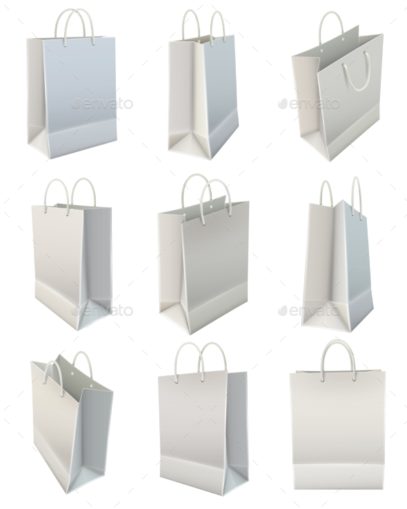 White Blank Paper Shopping Bag Set - Man-made Objects Objects