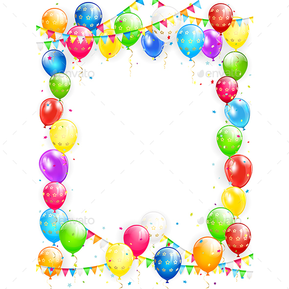 Charming Birthday Balloons Images Part - 14: Birthday Balloons And Confetti On White Background - Birthdays  Seasons/Holidays