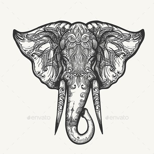 Elephant Head Zentangle Illustration - Animals Characters