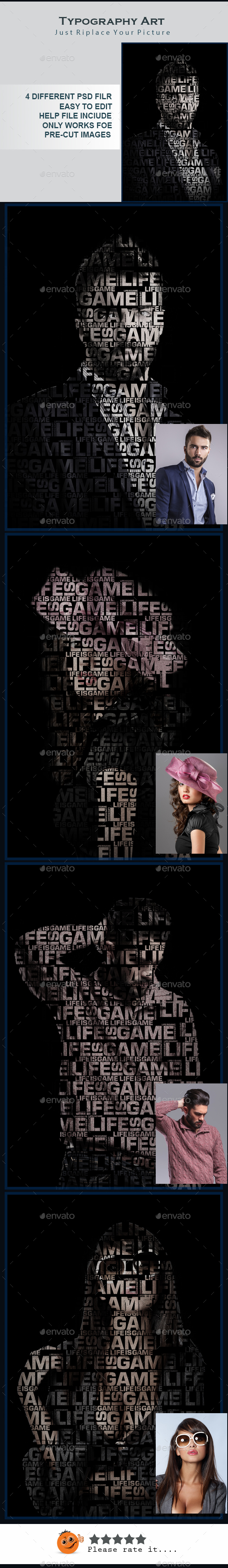 Text Portrait Poster V02 - Photo Templates Graphics