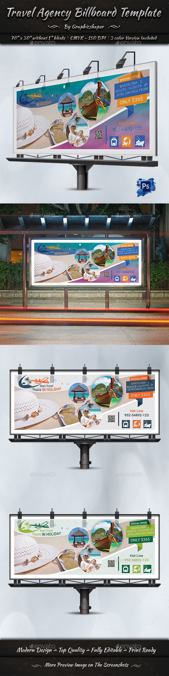 Travel Agency Billboard Template - Signage Print Templates