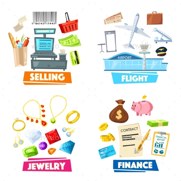 Selling, Jewelry, Finance and Flight Items - Miscellaneous Vectors